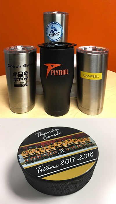 LogoJet Cups and Hockey Puck